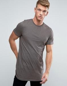 Длинная коричневая футболка New Look - Коричневый