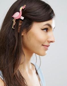 Блестящая заколка для волос ограниченной серии с фламинго - Розовый Asos