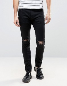 Черные джинсы слим с рваной отделкой Rollas Thin Captain - Черный