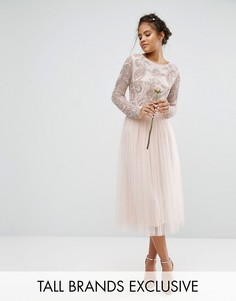 Maya Tall Satin Waist Midi Full Tulle Skirt With Bow Back Detail Co-Ord - Розовый