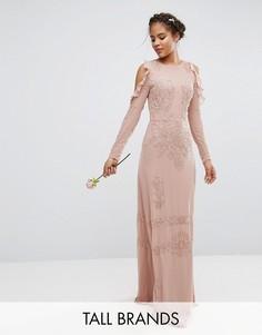 Платье макси с открытыми плечами и пайетками Maya Tall - Розовый