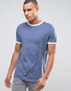 Темно-синяя футболка New Look Ringer - Синий
