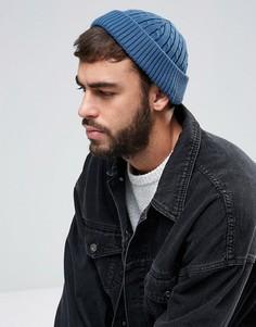 Синяя шапка-бини с узором косы ASOS - Синий