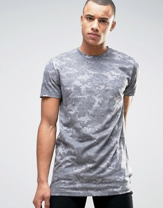 Длинная камуфляжная футболка New Look - Зеленый