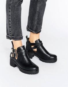 Ботинки на плоской подошве с металлической отделкой London Rebel - Черный