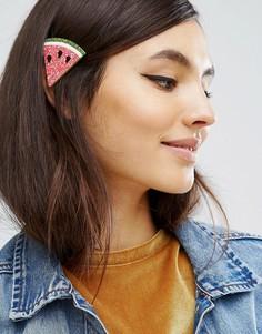 Блестящая заколка для волос ограниченной серии с арбузом - Розовый Asos
