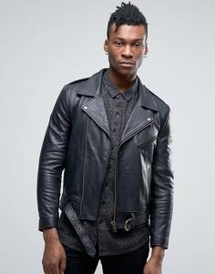 Кожаная байкерская куртка Rollas Mad Max - Черный