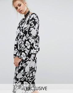 Платье миди с цветочным принтом и оборками Milk It - Черный