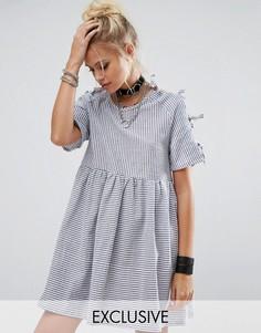 Платье с завязками на рукавах Milk It Vintage - Синий