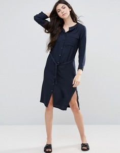 Платье-рубашка миди с ремнем Vila - Синий