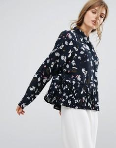 Блузка с принтом и оборками на кромке Vero Moda - Темно-синий