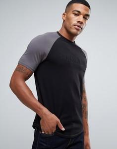 Черная футболка узкого кроя с рукавами реглан и логотипом Armani Jeans - Черный