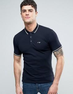Темно-синее узкое поло из пике с логотипом Armani Jeans - Синий
