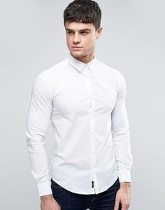 Белая узкая рубашка с однотонным логотипом Armani Jeans - Белый
