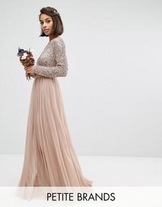 Платье макси с длинными рукавами и пайетками Maya Petite - Розовый