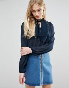 Блузка с нагрудной вставкой QED London - Темно-синий