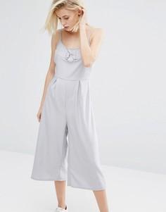 Комбинезон с юбкой-шортами и кольцом Influence - Серый