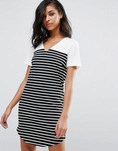 Платье-футболка в полоску Vila - Черный