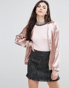 Куртка-пилот с эффектом металлик Vila - Розовый