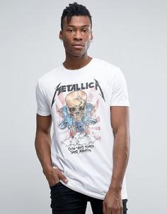Длинная футболка Metallica с принтом черепа ASOS - Белый