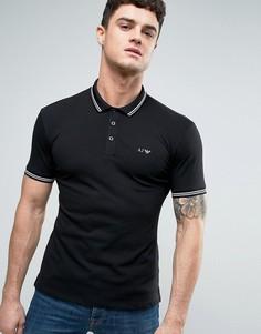 Черное узкое поло из пике с логотипом Armani Jeans - Черный
