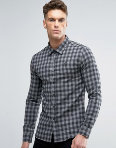 Рубашка скинни в клетку Gym King - Черный
