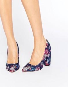 Туфли-лодочки на блочном каблуке с цветочным принтом Little Mistress - Мульти