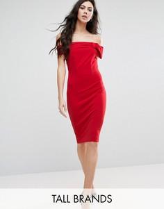 Платье с широким вырезом и бантом City Goddess Tall - Красный