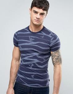 Синяя узкая футболка со сплошным принтом логотипа Armani Jeans - Синий