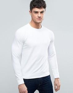 Белый легкий свитшот с круглым вырезом и тиснением логотипа Armani Jeans - Белый