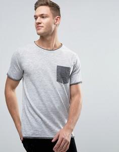 Меланжевая футболка с контрастным карманом и необработанными краями Jack & Jones Originals - Черный