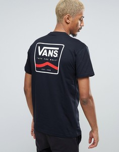 Черная футболка с принтом на спине Vans VA2X4TBLK - Черный