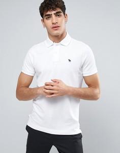 Белое обтягивающее поло с логотипом Abercrombie & Fitch - Белый