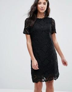 Кружевное цельнокройное платье с короткими рукавами Vila - Черный