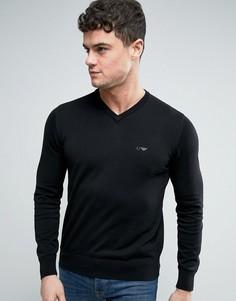 Черный трикотажный джемпер с V-образным вырезом и логотипом Armani Jeans - Черный