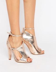 Асимметричные сандалии на каблуке Little Mistress - Медный