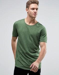 Выбеленная футболка с мятым эффектом и закругленным краем Jack & Jones Originals - Зеленый