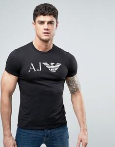 Черная узкая футболка с логотипом в виде орла Armani Jeans - Черный