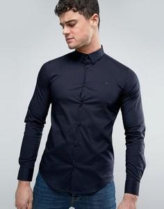 Темно-синяя узкая рубашка стретч с однотонным логотипом Armani Jeans - Темно-синий