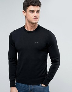 Черный трикотажный джемпер классического кроя с круглым вырезом Armani Jeans - Черный