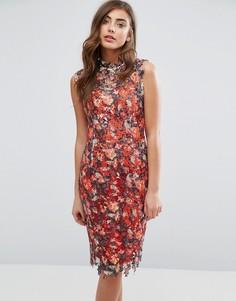Разноцветное кружевное платье миди с высокой горловиной Paper Dolls - Красный
