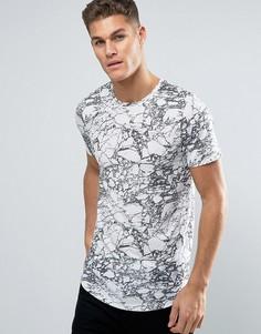 Длинная футболка с принтом Jack & Jones Premium - Белый