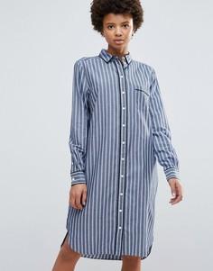 Платье-рубашка в полоску Ganni Sophie - Синий