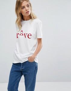 Футболка с принтом Reve Selected Femme - Белый