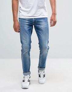 Выбеленные джинсы слим Replay Anbass - Синий