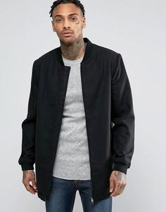 Удлиненная куртка-пилот с добавлением шерсти D-Struct - Черный