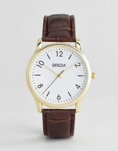 Золотистые часы с коричневым ремешком под крокодиловую кожу Breda Andrew - Золотой