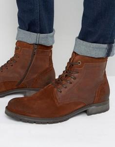 Кожаные ботинки на шнуровке Jack & Jones Hanibal - Коричневый