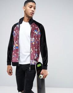 Велюровая oversize-куртка с цветочным принтом ASOS - Черный