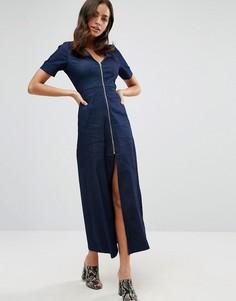Джинсовое платье-трапеция макси на молнии спереди Liquorish - Синий